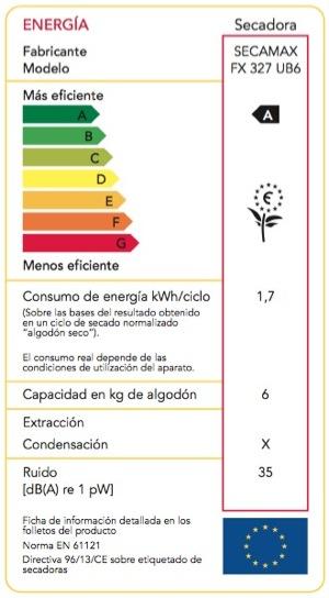 Etiqueta energética secadora